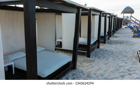 beach beds on the tropical resorts in Punta Cana, Dominican Republic