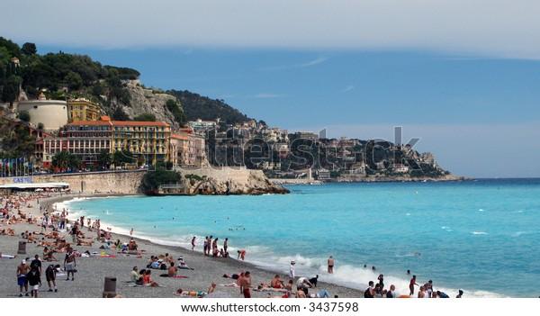 Beach below the Castle Hill in Nice, France