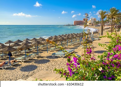 Beach in Benalmadena. Malaga province, Costa del Sol, Andalusia, Spain