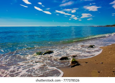 Beach. The best views of the beach in Marbella. Malaga province, Costa del Sol, Andalusia, Spain.