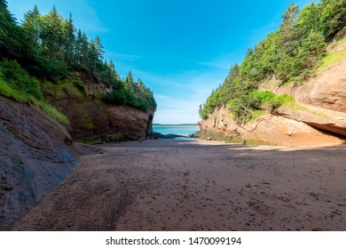 A beach between two cliffs at the ocean. One cliff is in bright sunlight, the other is in shade as is most of the beach. Blue sky and blue ocean visible. Trees on top of the cliffs.