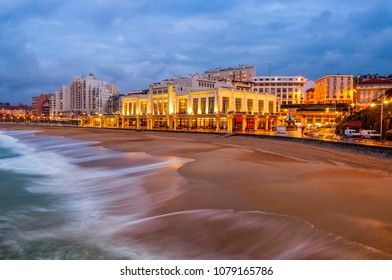 Beach of Biarritz in the Basque Country in New Aquitaine, France