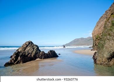 Beach in the Big Sur, California. Day light.