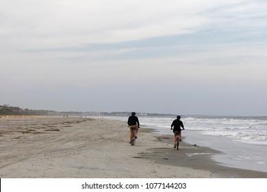 Beach biking on Hilton Head Island, SC at low tide.
