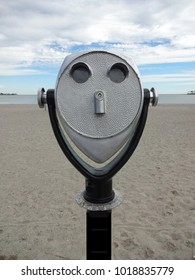 Beach binocular viewer at Silver Sands Beach in Milford, Connecticut, USA