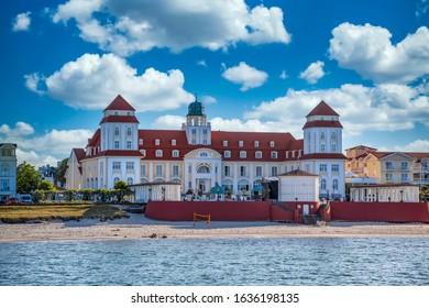 Beach in Binz on the island of Rügen with Tourist info
