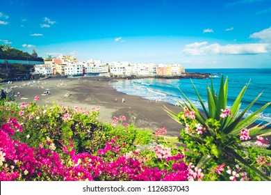 beach with black sand and tropical flowers, Playa Jardin, Puerto de la Cruz de Tenerife, Spain, toned