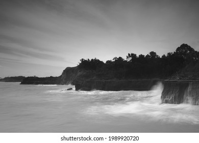beach black and white photo. pictures of coastal cliffs in Indonesia. North Bengkulu view from the top view from the top of the mountain. Travel paradise destination for adventure.