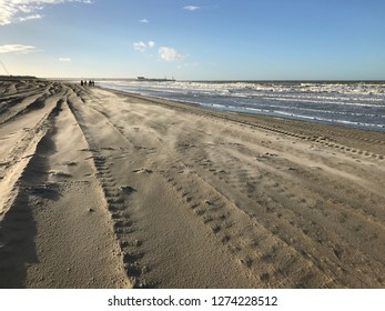 Beach in Blankenberge in winter sand blowing