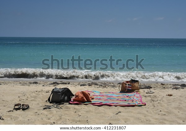 Beach Blanket Bags On Secluded Beach Stock Photo (Edit Now) 412231807