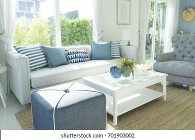 beach blue cushion and sofa of coastal home