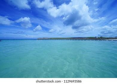 Beach and blue ocean in Okinawa