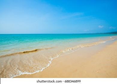 Beach with blue sky in Khao Lak, Phang Nga, Thailand.