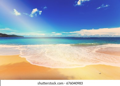 Beach and Blue Sky with Sunlight in Phuket, Thailand.