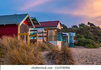 Beach boxes at sunset, Schnapper Point, Mornington