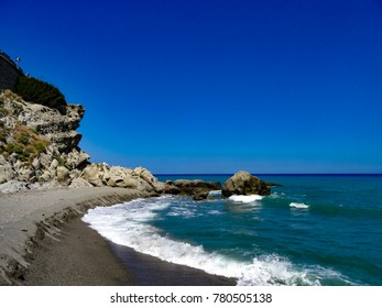 Beach of Brancaleone, strong sea on the rock -2017 December