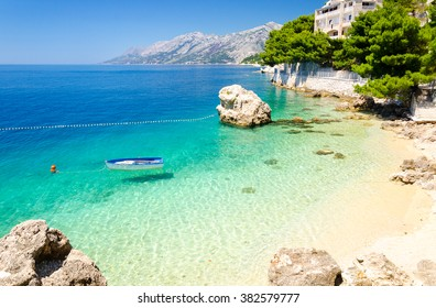 beach in Brela on Makarska Riviera, Dalmatia, Croatia