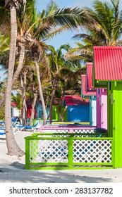 Beach bungalows on Eleuthera Island in the Bahamas
