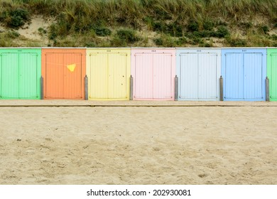 Beach cabines in the sand in Domburg, Zeeland, Holland