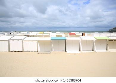 Beach cabins in Blankenberge, Atlantic coast, Flanders, Belgium
