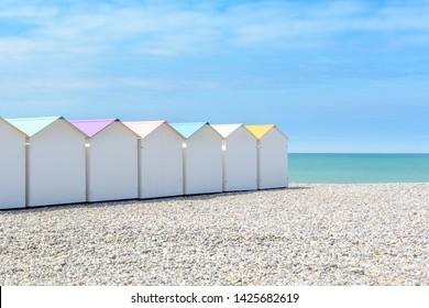 Beach cabins in Le Treport, Norhtsea coast, France