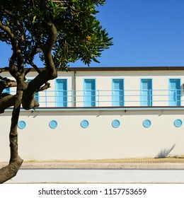 beach cabins in twentieth century architecture in Viareggio, Italy