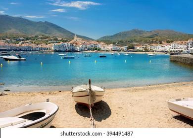 Beach in Cadaques on Mediterranean seaside, Costa Brava, Catalonia, Spain