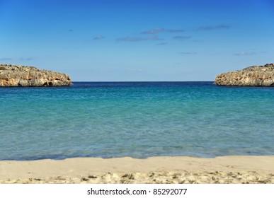 Beach of Cala Marsal in Porto Colom (Majorca - Spain)