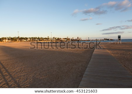 Beach in Caleta de Fuste, Fuerteventura Spain