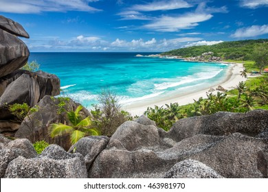 The beach called Grande Anse located on La Digue island, Seychelles