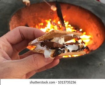 Beach camp fire and S'mores