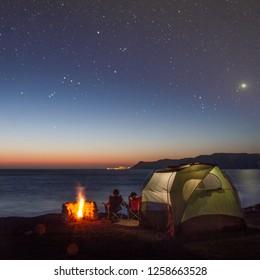 Beach Camping Under Stars