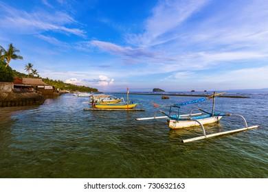 Beach in Candidasa - Bali Island Indonesia - nature travel background