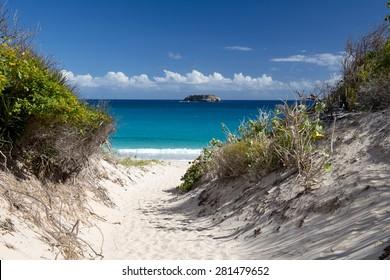Beach and caribbean sea, St barth