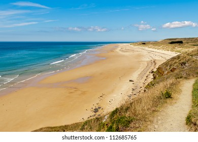 The beach at carteret,  normandy, france