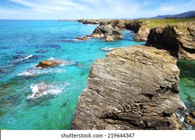 Beach of the Cathedrals in Ribadeo, Galicia, Spain