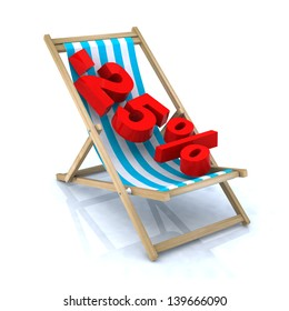 beach chair with -25% number, 3d illustration