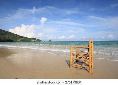 Beach Chair bamboo Chair Beach Scene