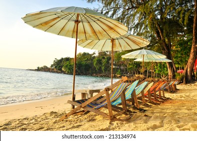 The beach chair evening wait for people sit Koh Samet the island at Thailand.