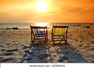 Beach Chair Sunset Stock Images RoyaltyFree Images Vectors
