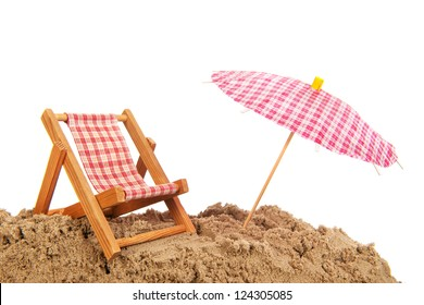 beach chair and parasol for shade at the beach
