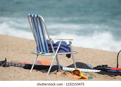 beach chair and things on sea