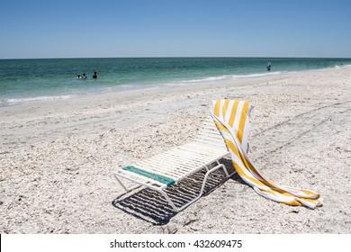 Beach Chair and Towel on Florida Coast