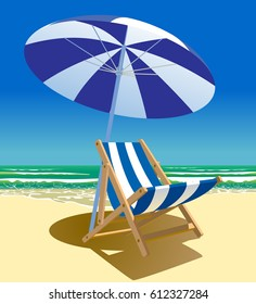 Beach chair and umbrella near the sea. Summer time voyage symbol and metaphor