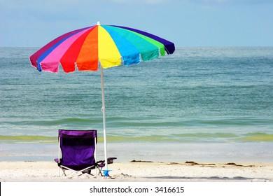 Beach chair and umbrella on Florida Gulf Coast
