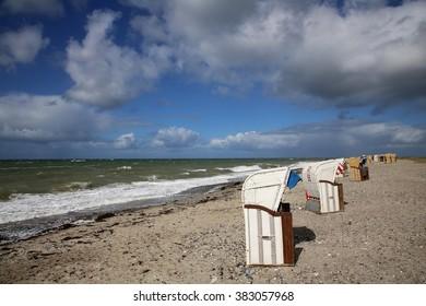 beach chairs at the baltic sea, Fehmarn