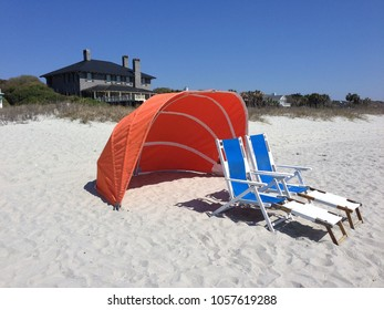 Beach chairs and Cabanas / sun, wind shades
