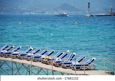 beach chairs near the croisette in Cannes
