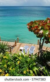 Beach chairs on a deck