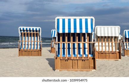 Beach chairs on a beach at the German Baltic Sea